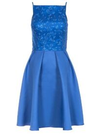 Quiz Blue Sequin High Neck Skater Dress