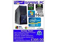 i7 Gaming PC Fast !!! Quad Core 16GB Memory 2TB Hard drive