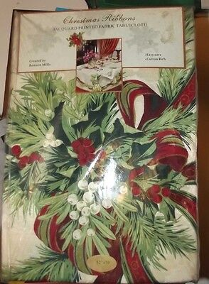 """Jacquard fabric table cloth Christmas Ribbons 52"""" x 70"""" new in package"""