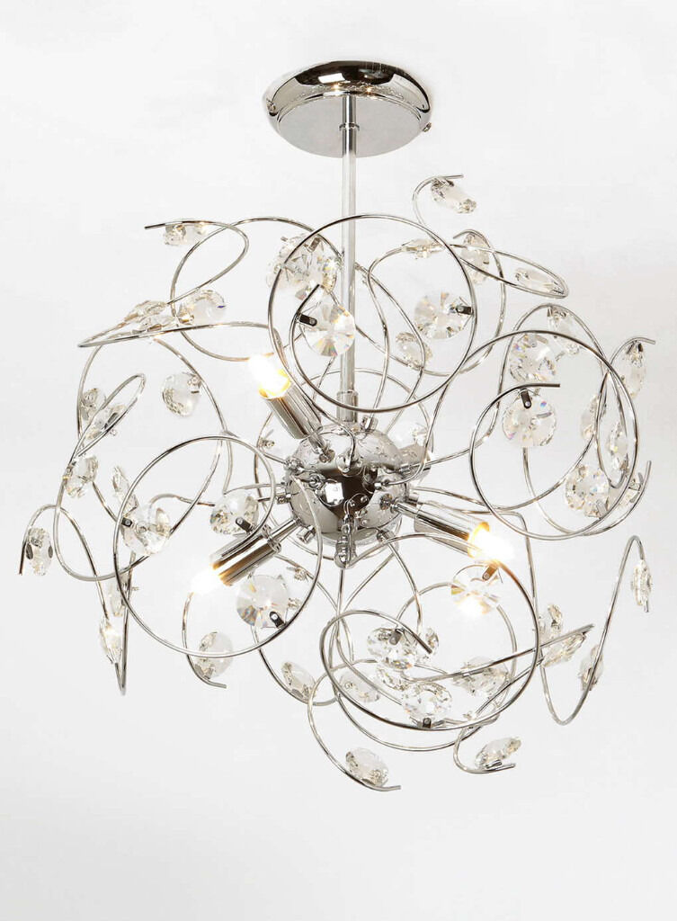 Beautiful sparkly crystal lila sputnik chrome ceiling light beautiful sparkly crystal lila sputnik chrome ceiling light chandelier rrp 160 bhs mozeypictures Image collections