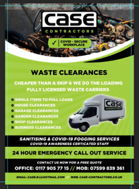 Waste clearance. Rubbish removal. House clearance