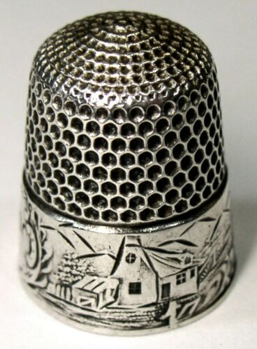 "Early Antique Simons Bros. Sterling Silver Thimble  ""Landscape Gray""  C1890"