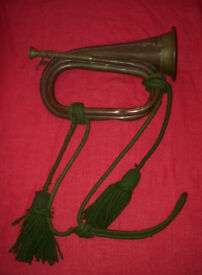 RARE VINTAGE BUGLE WITH DECORATIVE CORD
