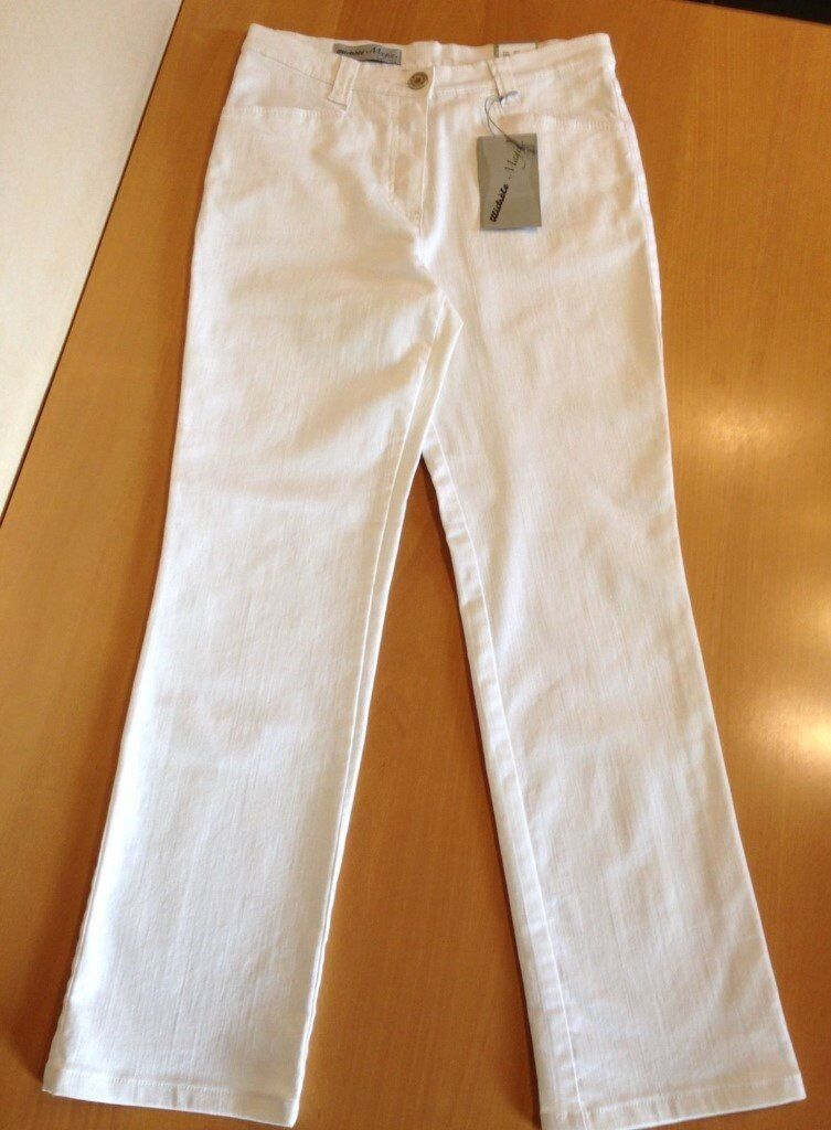 BRAND NEW WITH TAGS RRP £145 SIZE 10 REG MICHELE MAGIC WHITE STRAIGHT LEG  FIGURE SHAPE JEANS 60b54f76d