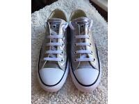 Converse Silver All Star Metallic Canvas Ox Trainers