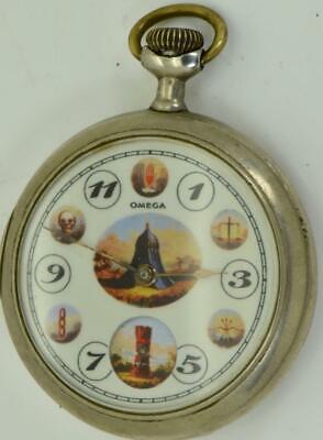 Rare antique Omega fancy AUTOMATON dial Masonic/Odd Fellows pocket watch