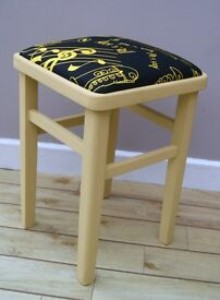 VINTAGE UNIQUE UPCYCLED 1950's THEMED STOOL PAINTED WITH FRENCH CHALK PAINT