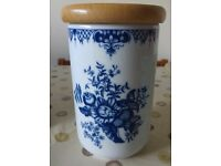 1995 Royal Worcester Hanbury Jar with Wooden Lid