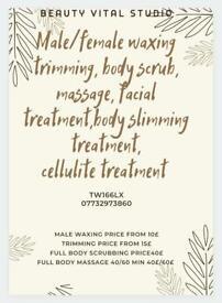 Male/female waxing, trimming, body scrub, massage