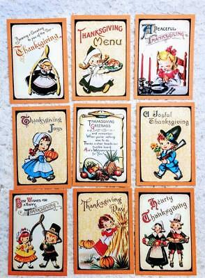 Kids Thanksgiving Crafts (Set of 9 Cards~Vintage Thanksgiving Kids~Greeting Card Toppers and)