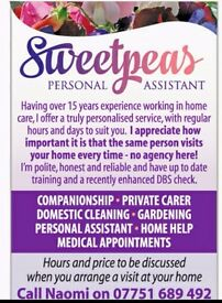 Personal assistant and domestic cleaner