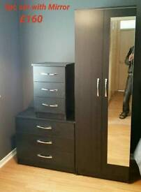 2 Door Wardrobe With Mirror, Chest And Bedside