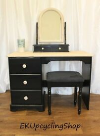 Dressing Table, Black and Natural Limed Wood
