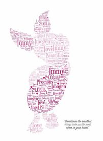 Personalised A4 Print Piglet Word Art Gift
