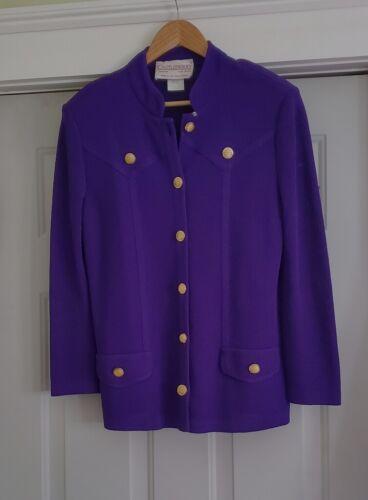 Vintage Castleberry Purple Knit Brass Button Jacket Blazer