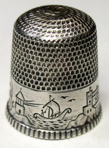 Antique Waite Thresher Co Sterling Silver Thimble  Pawtucket Water Scene  C1890s