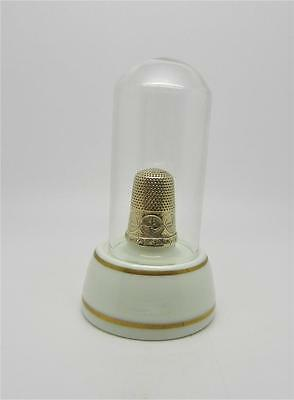 ANTIQUE 14K YELLOW GOLD THIMBLE IN ORIGINAL GLASS DISPLAY - VERY RARE - LB-C1465