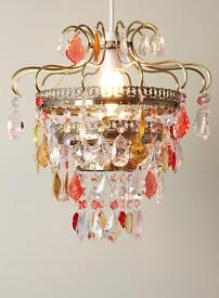 Glass and brass chandelier. Coloured glass, very elegant. Cost £50