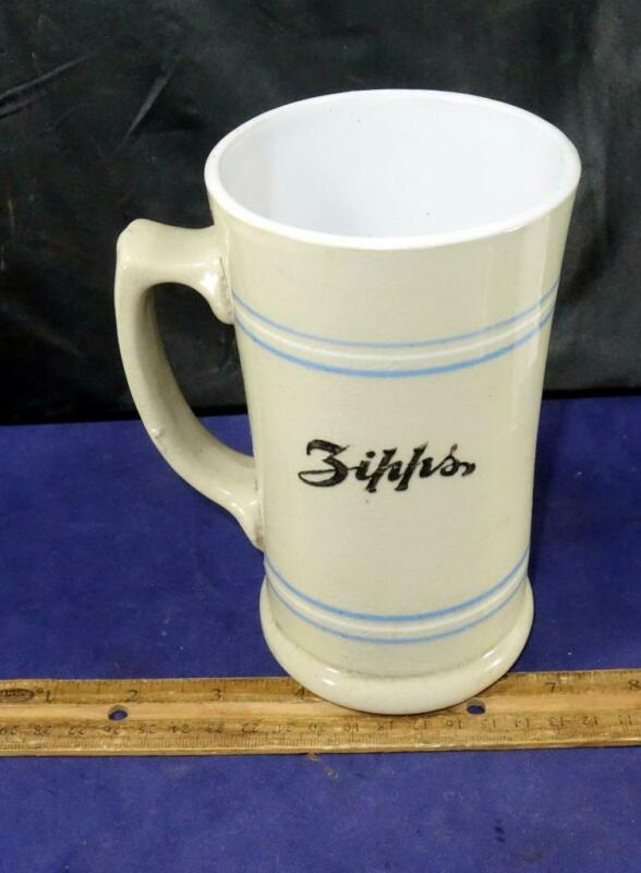 Antique Zipps Root Beer Stoneware Mug Cup Cleveland Ohio !!