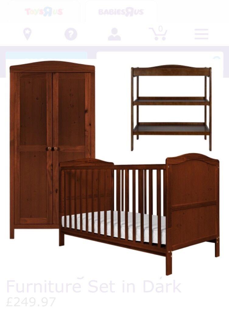 Dark Wood Nursery Furniture Set Babiesrus Cambridge Range Cotbed Wardrobe And Changing Table