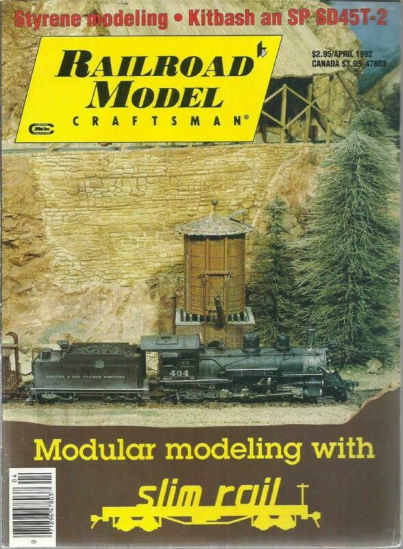 Railroad Model Craftsman April 1992 Headend Cars Brick Townhouses Styrene Tips