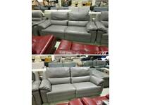 Grey leather 3 & 3 seater sofa electric recliner