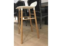 Normann Copenhagen - oak and white bar stool (65cm)