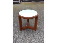 Retro Round Coffee Table with Glass Top