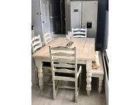 6 Seater Dining Table - Chalk White 4 chairs and Bench