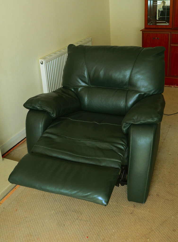1 Leather Reclining Chair U0026 1 Leather 2 Seater Sofa   Very Dark Green (Will