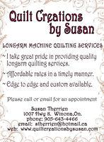 Longarm machine quilting services