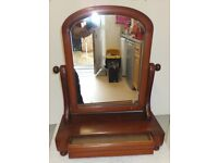 Small Mahogany Victorian swing mirror with drawer