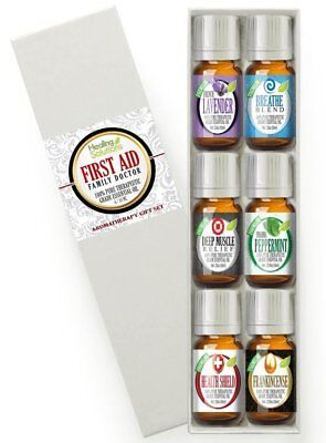 - First Aid (6) Essential Oil Set (100% Pure & Natural) Therapeutic Grade - 6/10ml