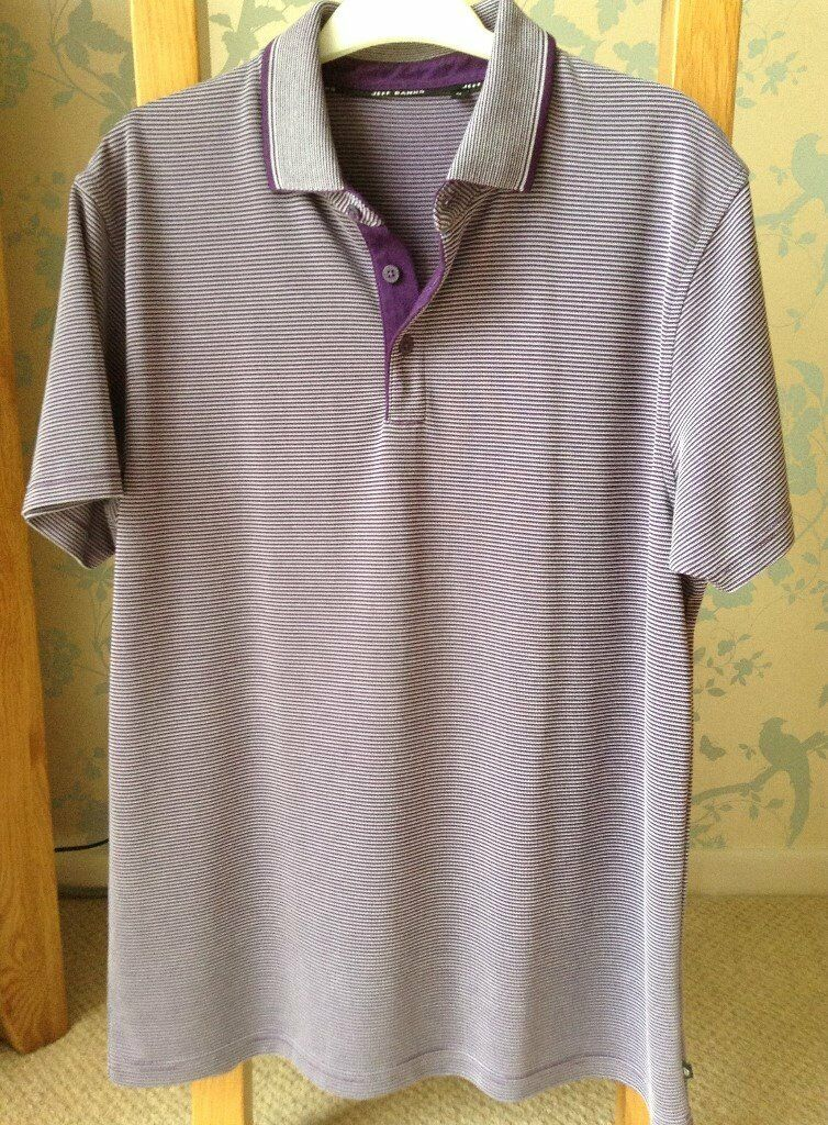 Men's Clothing Purple Stripe Short Sleeve Polo Style T-Shirt Size Medium by Jeff Banks NEW