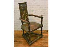 Antique Church gothic throne chair wooden desk vintage leather industrial interior mancave armchair