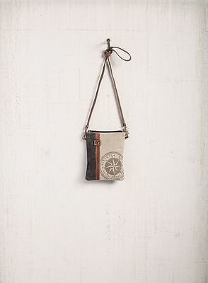 "Mona B Compass Small Canvas Crossbody Bag Reycled Canvas Purse Shoulder Bag 6x8"""