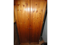 GOOD CONDITION, SOLID PINE DOUBLE WARDROBE WITH SHELF