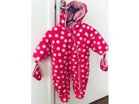 Baby Toddler 3 to 6 months Snow Suit, Pram Suit, Pink White Dots