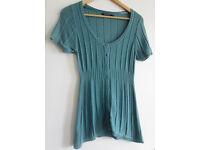 Primark Atmosphere Teal Turquoise Short Sleeve Cardigan Size 10 Cute 🌼