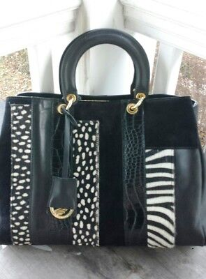 A. Bellucci Italy Animal Print Black Leather Satchel – New