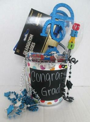 Graduation Party Items (Lot of Graduation Party Items in Metal Bucket LED Pin Glasses Beads)