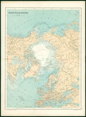 1912 Original Colour Antique Map - NORTH POLAR REGIONS  (19)