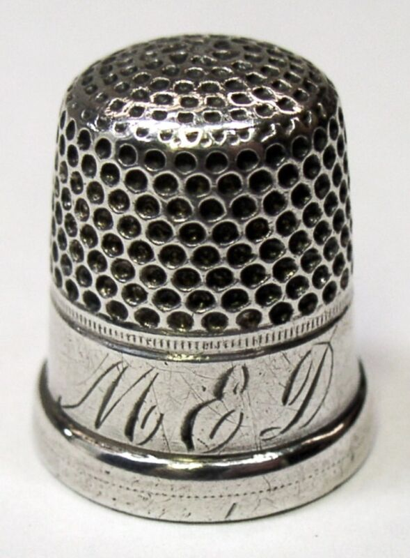 """Antique Shepard Manufacturing Co Sterling Silver Thimble  """"MED"""" Monogram  C1890s"""