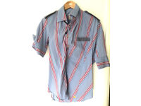 "Vivienne Westwood Striped Asymmetric Short Sleeved Shirt Size II - 38"" Chest"