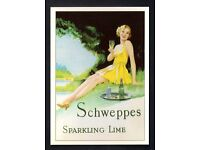 ROBERT OPIE POSTCARD *** SCHWEPPES SPARKLING LIME *** MINT CONDITION ***