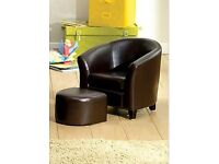Dunelm brown faux leather tub chair and stool