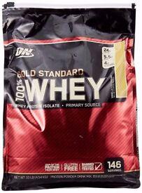 Optimum Nutrition Gold Standard 100% Whey Protein Powder - 4.54 kg, Vanilla Ice Cream
