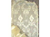"""Vintage Unused Laura Ashley Art Nouveau Design Cream Cotton Lace Panel Curtain Material 72""""L x 59""""W"""