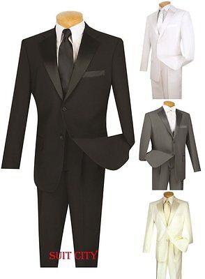 Men's Formal Tuxedo Prom Wedding Groom Suit Classic Fit Two Buttons Four Colors (Prom Suit)