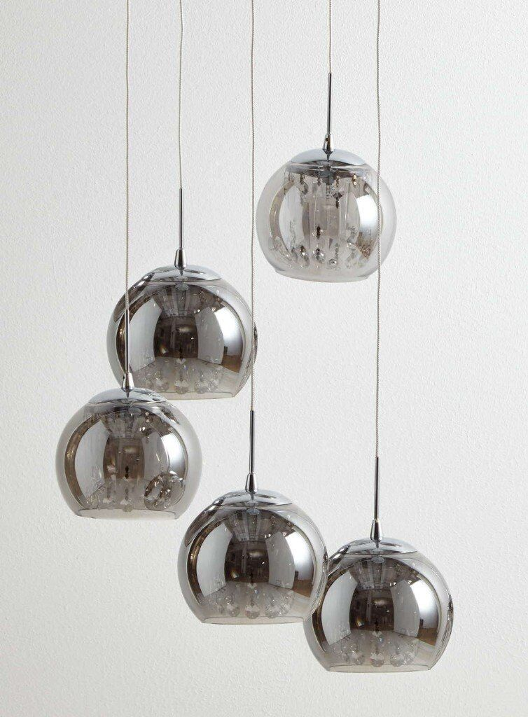Crystal Glass and Smoke Glass Cluster Light Chandellier bhs